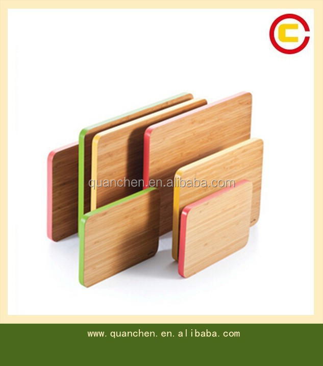 Bamboo cutting board with colorful edge