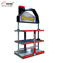 Merchandising Yellow Metal Retail Display Rack For Lubricating Oil, Gas Station Stihl Oil Display Rack