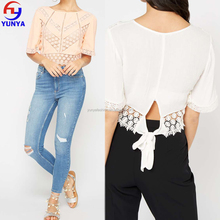 Latest fashion blouse design ladies cutwork lace half sleeve blouse