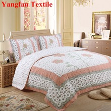 Hand Embroidery Big Flower 100% Cotton Quilted Water-washing Quilt Bedding Set
