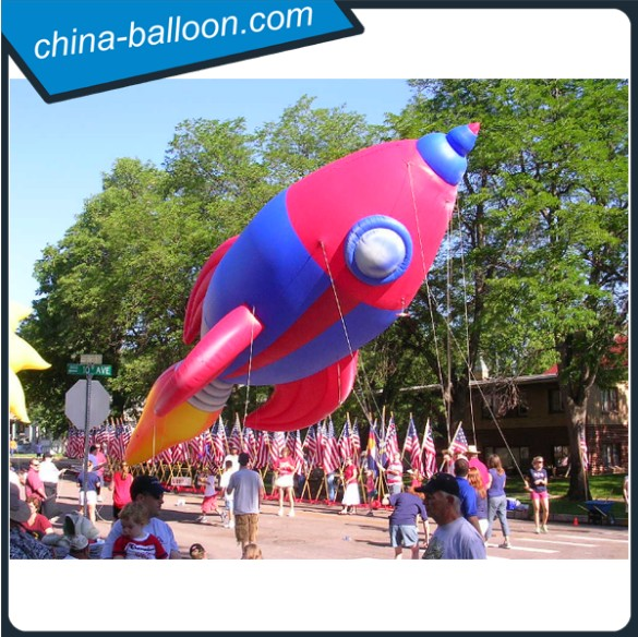 Supply inflatable rocket, PVC air blimp, inflatable toy rocket ship