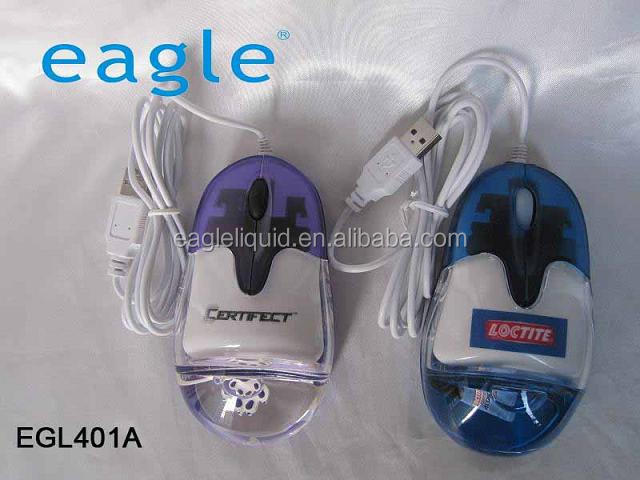 PC aqua mouse liquid wired or wireless mouse with customized 3D floater and logo