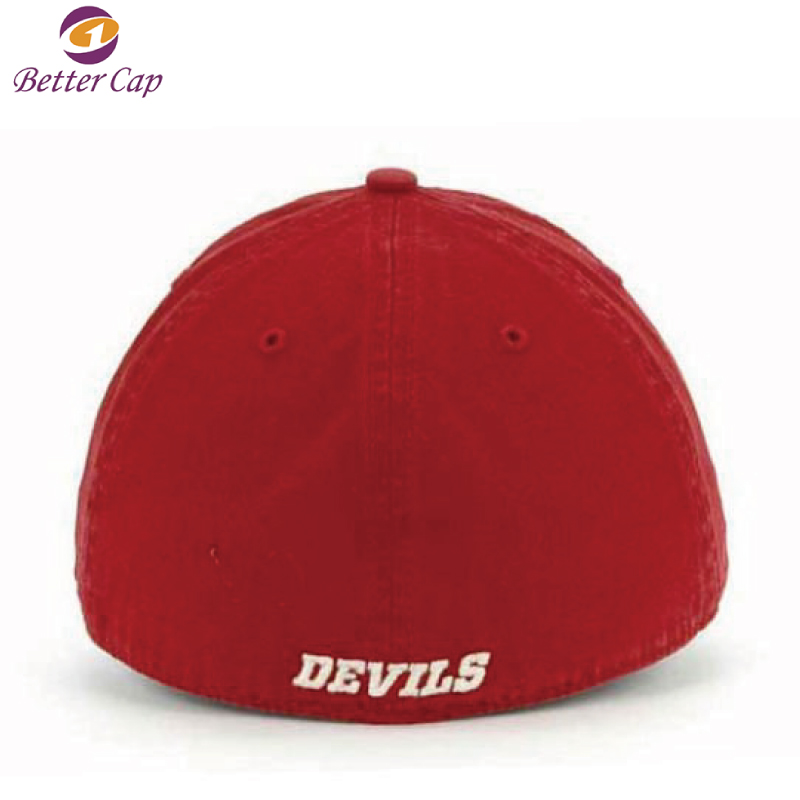 2D flat embroidery fitted style washed cotton flexfit cap