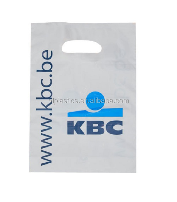Custom Design Logo Printing PE Cheap Plastic Die Cut Patch Handle Shopping Plastic Bag