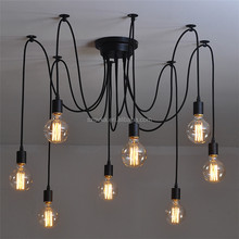 Retro Industrial Style Chandelier Living Room Restaurant Bedroom Long Iron Tattoo Squash Chandelier