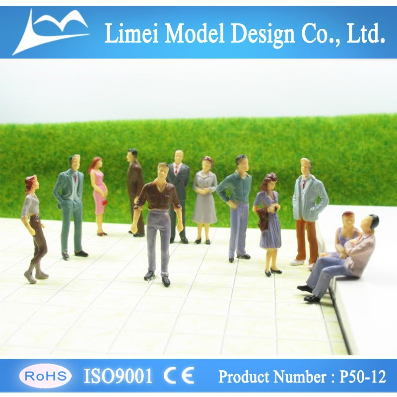 Painted plastic scale model people for layout , architectural model materials