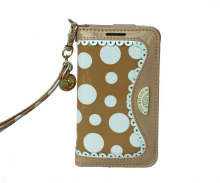 New Arrival stylish mirror polka dot leather cell phone case for iPhone5