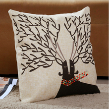 Square printed decorative throw pillow