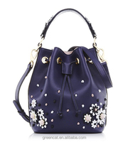 2017 Navy blue floral flower PU leather drawstring price bucket bonia designer leather bags women handbags I200041