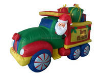 270cm/9ft high polyester Christmas inflatable santa Claus driving the truck taking the gift boxes decoration
