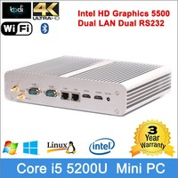 intel i core i5 broadwell mini pc 4K HD intel Graphics dual HDMI resolution Dual RS232 latest computer's configuration