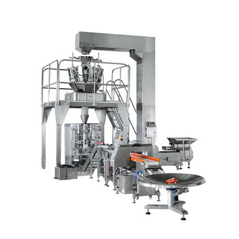 Full auto 14 multihead check weigher production line Pillow bag vertical snacks granule printing date Packaging Machine