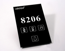 AODSN touch doorbell hotel electronic door plate with hotel logo and room number