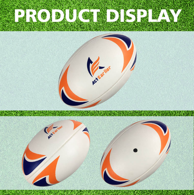 ActEarlier Sports Goods White Grain surface  custom rugby ball size 5 for training