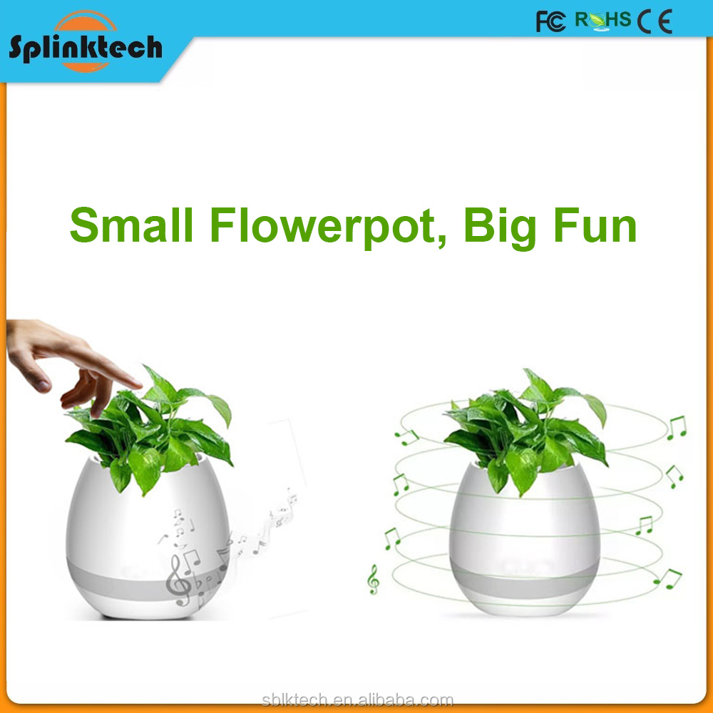 Green Plants Holder Ceramic Flower Pot with Bluetooth, Ornamental Flower Pot with LED