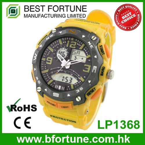 LP1368 Yellow ABS plastic case two time movement waterproof 3 ATM wristwatch