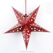Custom design Christmas Decoration Laser Stars and Moons Three-dimensional Handmade Hanging Paper Star Lantern for Decoration