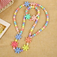 Children rose spring acrylic plastic necklace grind arenaceous bead yiwu jewelry wholesale
