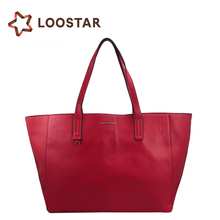 Alibaba China Supplier Wholesale Women Soft Red Leather Handbags Tote Bags