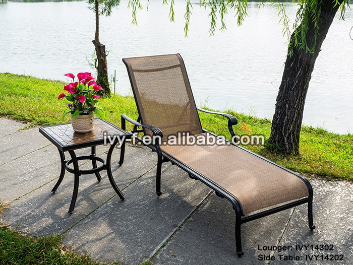 patio furniture poolside cast aluminum sling chaise lounger adjustable-height recliner with small square ceramic side table