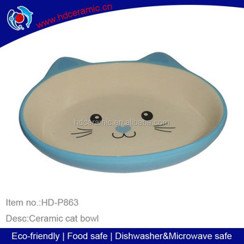 Personalized ceramic cat Bowl with blue color,animal shaped bowls,ceramic cat bowl with smiling cat face shape