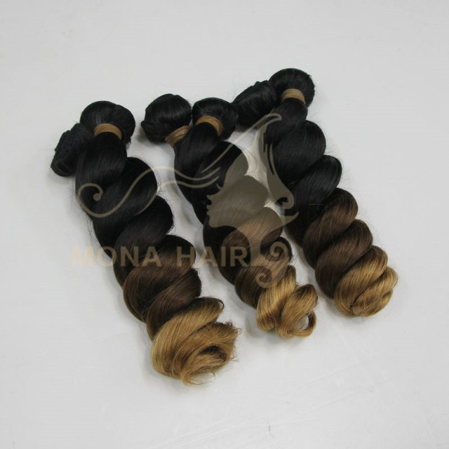 Fast delivery three tone ombre brazilian hair weave wet and wavy