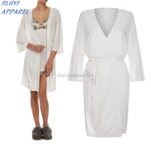 Wholesale luxury Organic cotton Kimono Jersey Robe womens cotton jersey white modal lady's dresses Robe pajama