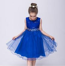 High quality children lace <strong>dress</strong> patterns with stones belt
