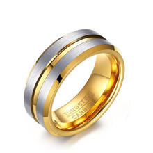 Latest Two-tone Silver Gold Tungsten Carbide Grooved Wedding Engagement Ring Jewelry Matte Tungsten Steel Rings for Men