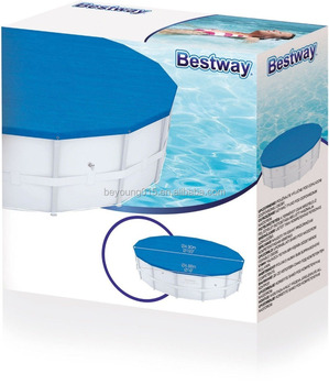 Bestway 15 ft Round Power Steel Frame Swimming Pool Safety Covers for Inground Swimming Pools