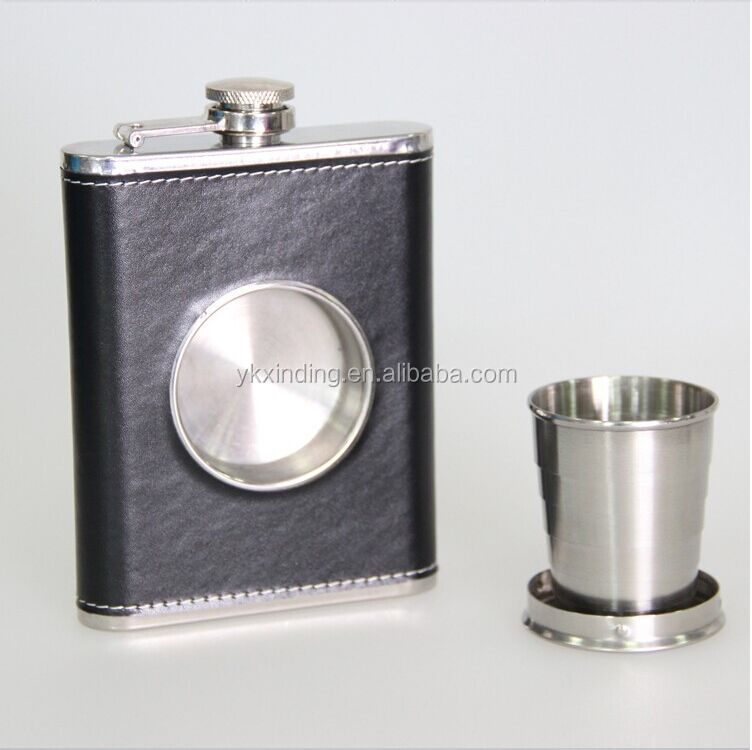 8oz Hip Flask with a Built-in Collapsible Shot Glass - Stainless Steel with Premium Bonded Leather Wrapping
