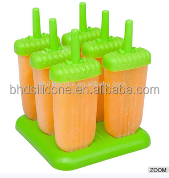 Reusable Plastic Ice Pop Maker Popsicle Mold,DIY Homemade Ice Cream Fruit Sticks Set of 6 with Tray