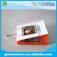 Branded white kraft paper shopping bags wholesale
