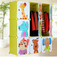 New style green panels with cartoon armoire designs, folding clothes storage cupboard, kids cartoon bedroom(FH-AL0031-9)