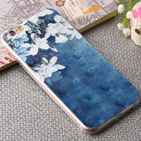 Floral Painted 3D Relief Clear Transparents For Apple iPhone 6 4.7 Case