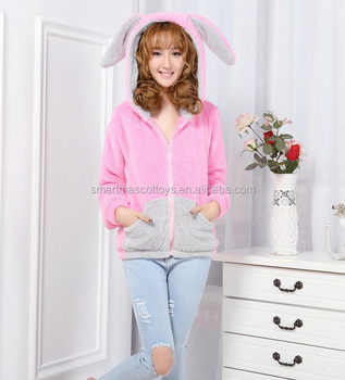 wholesale longsleeve pink rabbit bunny hoodies with ears adult animal hoodie