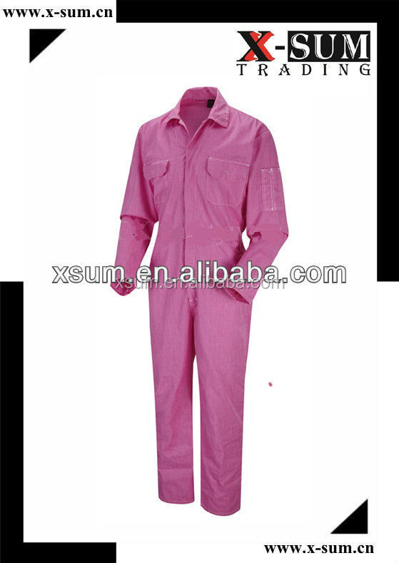 Industrial Worker Cotton Pink Mechanic Coveralls