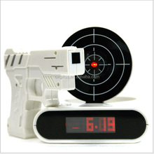 OXGIFT Made in China Alibaba wholesale Manufacture Infrared Pistol shooting Gun Alarm Clock