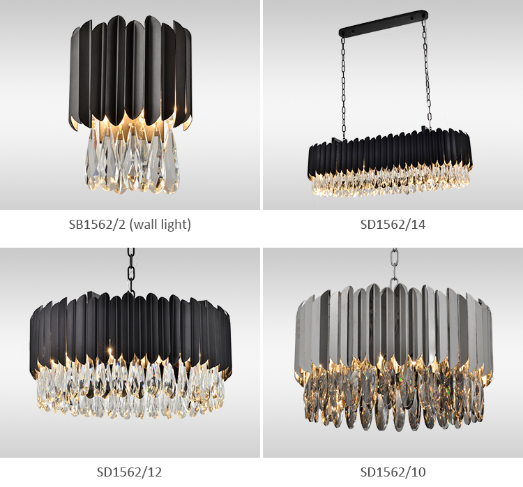 High quality black colour acrylic shade reactangle shaped  with black steel Decorative  chandelier light