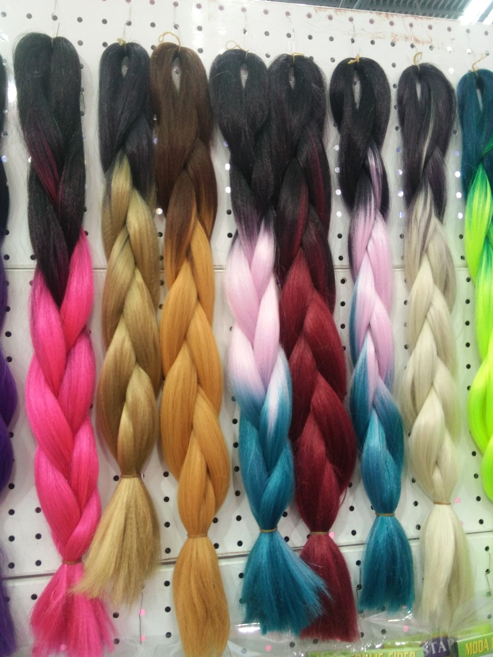 ombre dip dyed braids 2-tone and 3-tone color /heat resistane fiber braids many color IN STIOCK
