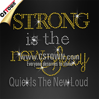 Bling quote strong is the new sexy wholesales hot fix rhinestone motif