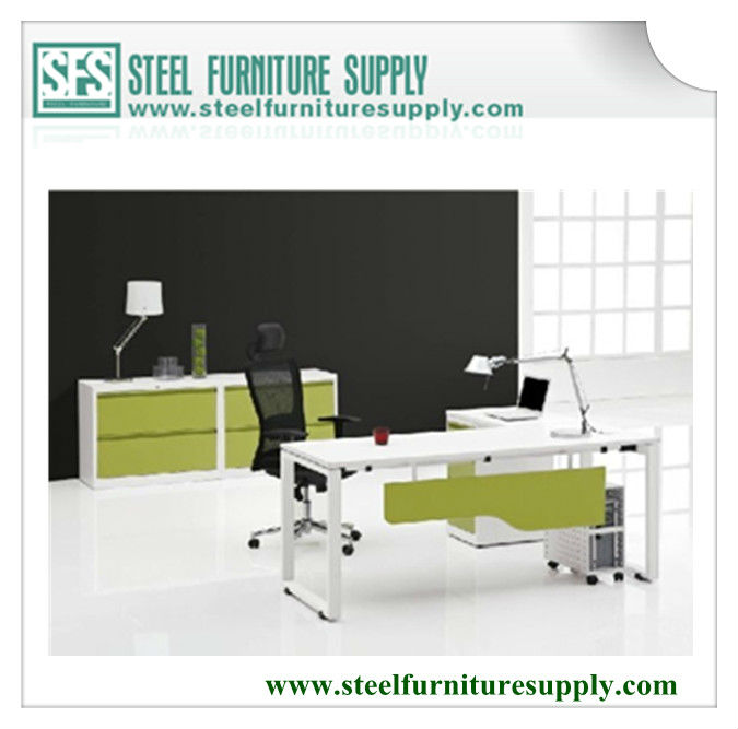 elegant steel office desk with pedestal