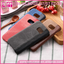 2017 Latest Business Denim Leather Finishing Edge Splicing Cell Phone Case Cover for Samsung S6/S7/S7 Edge