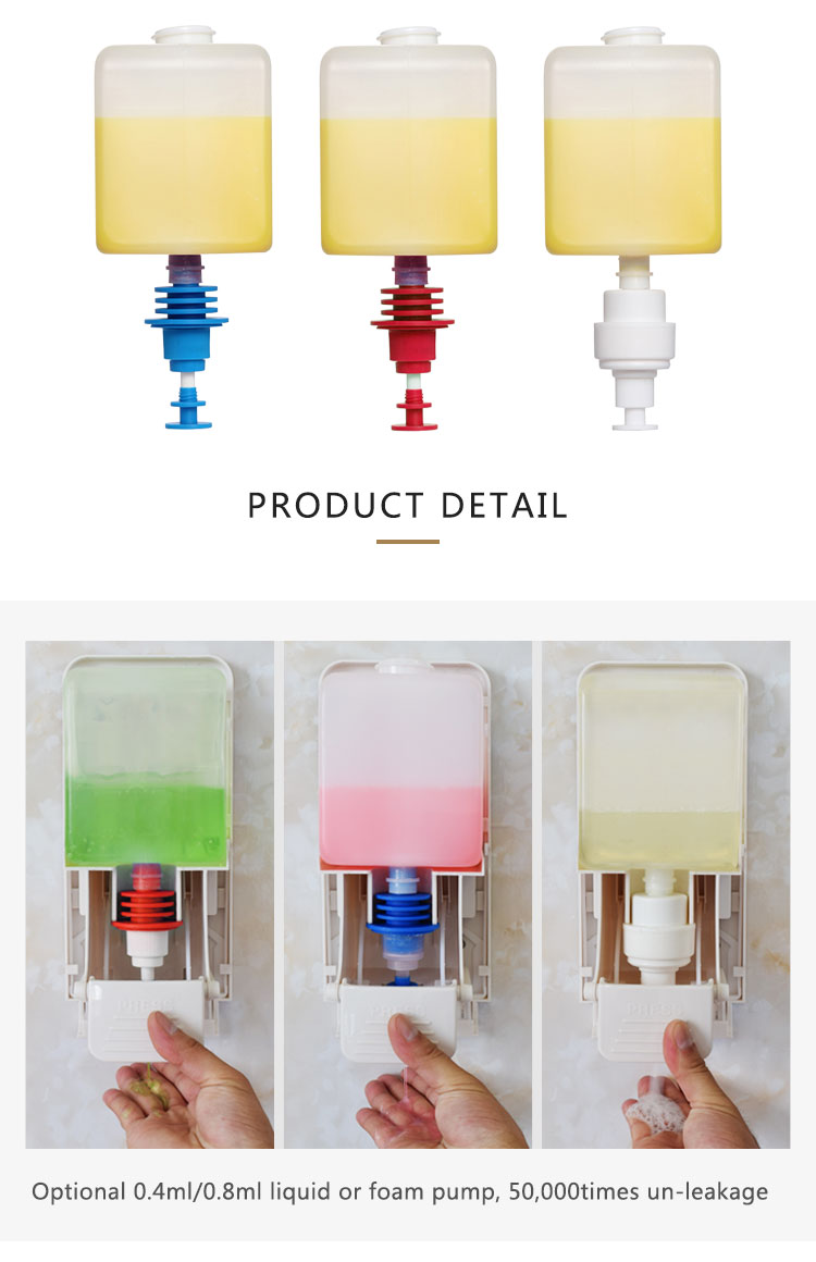 HDPE plastic 1000ml refill liquid soap cartridge bottle for soap dispenser
