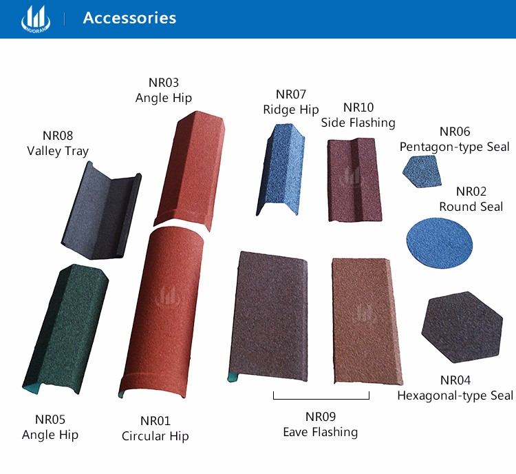 Nuoran High quality colorful Shingle stone coated roofing sheet building materials