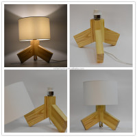 3 leg tripod table lamp wooden moder style desk lamp with facric shape