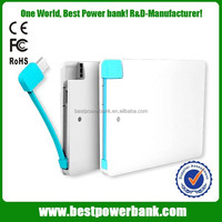 HC-K2 2500mah smart mobile power bank,build in cable power bank,portable cell phone battery charger