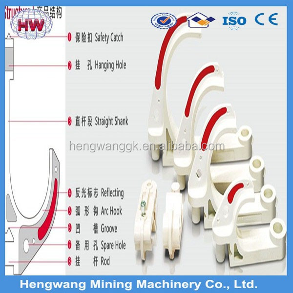 HENGWANG factory 60 mm Plastic/PVC cable hanger / cable hook for coal mine