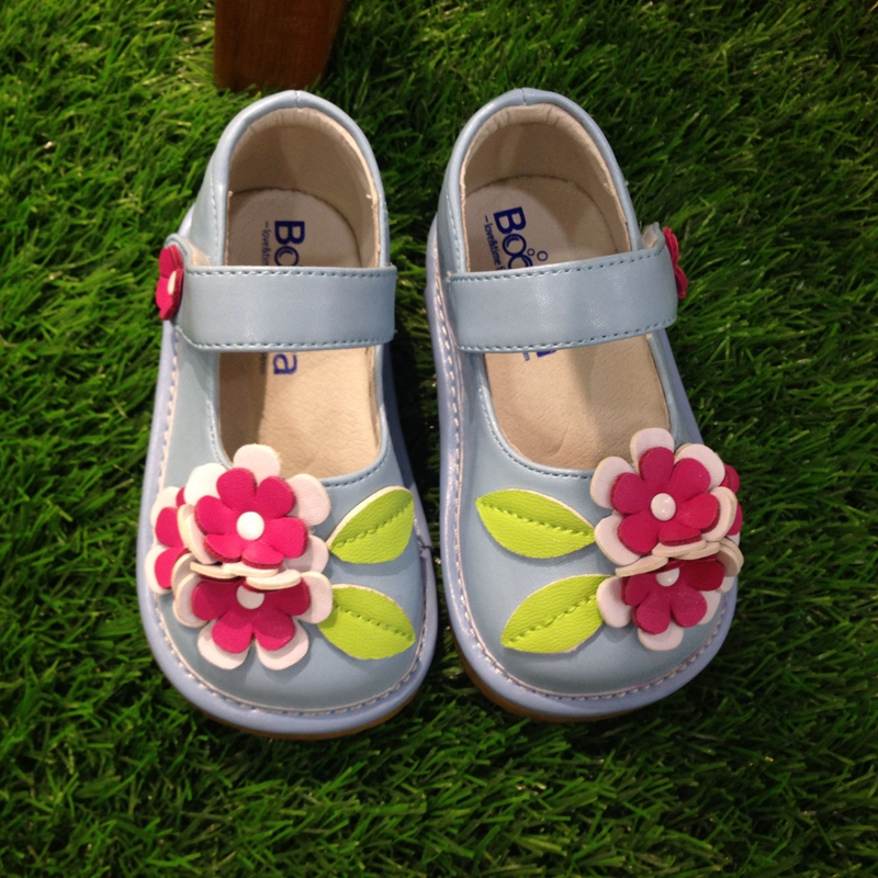 SQ-A624-BL wholesale kids child leather squeaky girls flower shoes