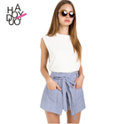 HAODUOYI Women High Waist Button Shorts Female Lace Up Bottom A-line Shorts Ladies Loose Casual Short for Wholesale